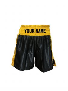 Black with Gold Panels Satin Boxing Shorts - Add Your Name
