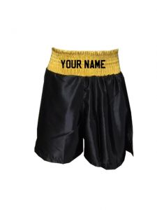 Gold Black Satin Boxing Shorts - Add Your Name