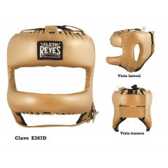 Cleto Reyes Gold Leather Head Guard Face with Nylon Round Face Bar