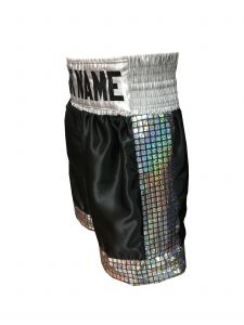 Black Satin Boxing Shorts with Silver Sequin Panels - Add Your Name