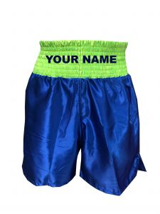 Flou Green-Blue Satin Boxing Shorts - Add Your Name