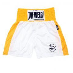 Tuf Wear Kids Junior Club Boxing Shorts - White Gold