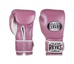 Cleto Reyes Pink Leather Wrap Around Velcro Sparring Gloves
