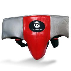 Ringside Pro Fitness Groin Guard Synthetic Leather Metallic Red / Black / Silver