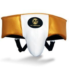 Ringside Pro Fitness Groin Guard Synthetic Leather Metallic White / Black / Gold