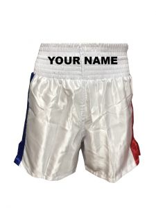 White Red Blue Satin Boxing Shorts - Add Your Name