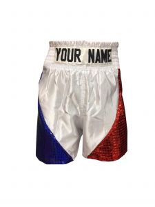 White Satin Boxing Shorts with Sequin Panels - Add Your Name