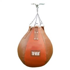 Tuf Wear Boxing Classic Brown Leather Wrecking Ball with Chains & Ceiling Hook
