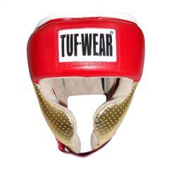 Tuf Wear Apollo Metallic Leather Headguard with Cheek - Red