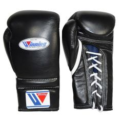 Winning MS Training Lace Up Boxing Gloves - 16oz Black