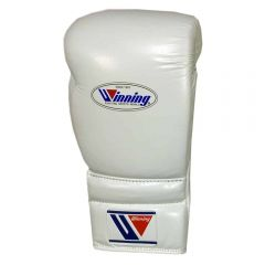 Winning MS Training Lace Up Boxing Gloves - 12oz White