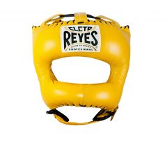Cleto Reyes Yellow Leather Head Guard with Nylon Pointed Face Bar